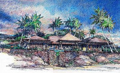Poster featuring the drawing Kona Residence by Andrew Drozdowicz