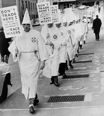 Ku Klux Klansmen Picket Newly Poster by Everett