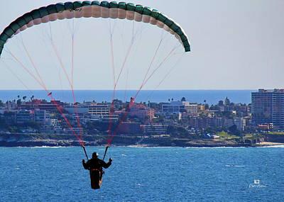 La Jolla Hang Glider  Poster by Russ Harris