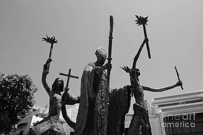 La Rogativa Statue Old San Juan Puerto Rico Black And White Poster