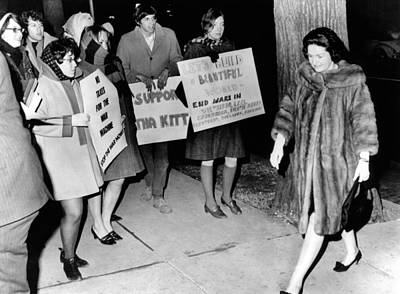 Lady Bird Johnson Walks Past A Group Poster by Everett