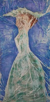 Poster featuring the mixed media Lady In Green by Angela Stout