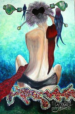 Lady In Red Poster by Jolanta Anna Karolska