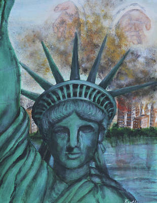 Lady Liberty Cries Poster by Pauline  Kretler