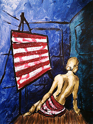 Lady Liberty Female Flag Figure Painting In Red Green Blue And Yellow Poster by M Zimmerman