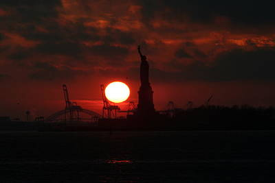Lady Liberty Sunset Poster by Matthew Breslow