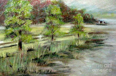 Poster featuring the pastel Lake Acworth Fisherman by Gretchen Allen