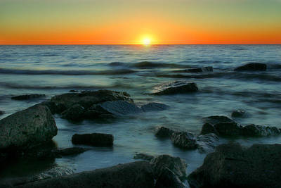 Poster featuring the photograph Lake Erie Sunset by Cindy Haggerty