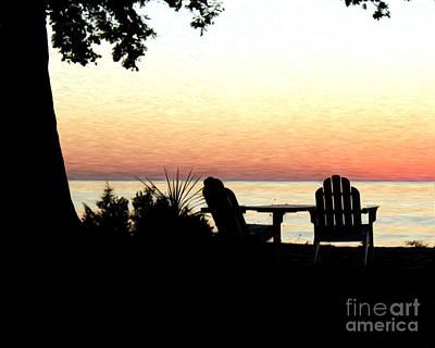Lake Michigan Sunset Poster by Anne Raczkowski