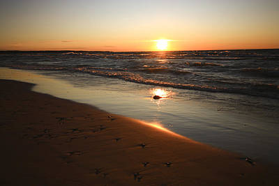 Poster featuring the photograph Lake Michigan Sunset by Patrice Zinck