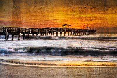 Lake Worth Pier Poster by Debra and Dave Vanderlaan