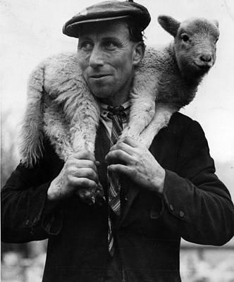 Lamb And Farmer Poster by Reg Speller