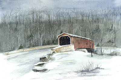 Poster featuring the painting Lancaster County Covered Bridge In The Snow  by Nancy Patterson