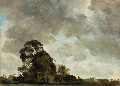 Landscape At Hampstead - Tree And Storm Clouds Poster