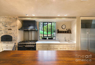 Large Counter Top In A Home Kitchen Poster by Noam Armonn