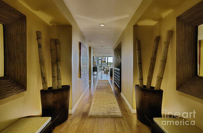 Large Hallway In Upscale Residence Poster