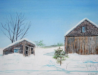 Poster featuring the painting Last Barn In Winter by Anthony Ross