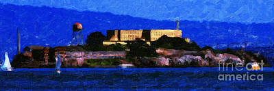 Last Light Over Alcatraz . Panorama Cut Poster