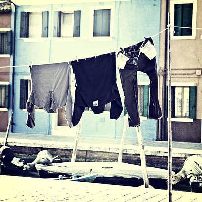 laundry on a clothes line in Burano - Venice Poster