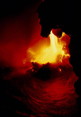 Lava Pouring Into The Sea From Kilauea Volcano Poster by G. Brad Lewis