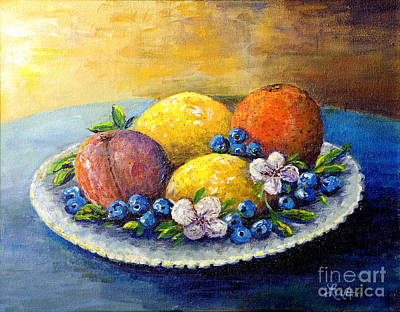 Poster featuring the painting Lemons And Blueberries by Lou Ann Bagnall