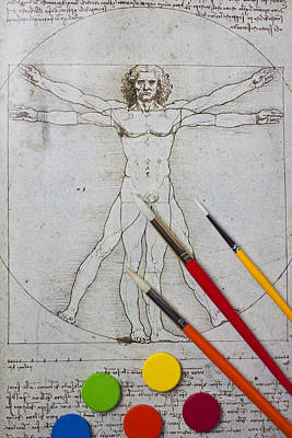 Leonardo Artwoork And Brushes Poster by Garry Gay