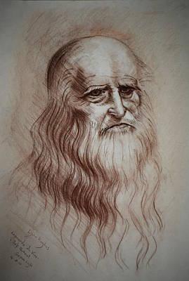 Poster featuring the drawing Leonardo Da Vinci Study by Lynn Hughes