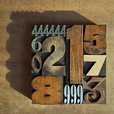 Letterpress Numbers Poster by Daryl Benson