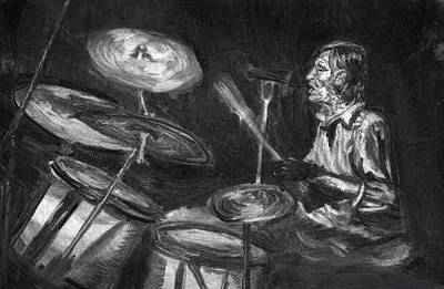 Poster featuring the drawing Levon Helm In Charcoal by Denny Morreale
