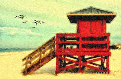 Poster featuring the photograph Life Guard Station by Gina Cormier
