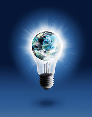 Light Bulb With Globe Poster