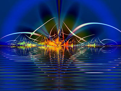 Poster featuring the digital art Light On The Water by Mario Carini