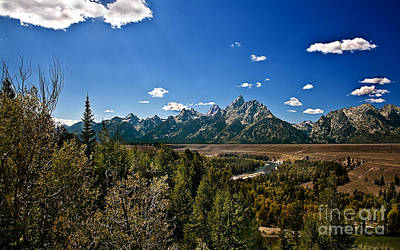 Light Rays On The Grand Tetons Poster by Robert Bales