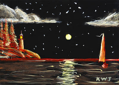 Lighthouse And Sailboat Painting Full Moon Art Poster by Keith Webber Jr