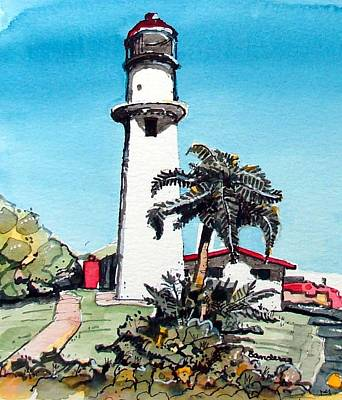 Poster featuring the painting Lighthouse At Diamond Head by Terry Banderas