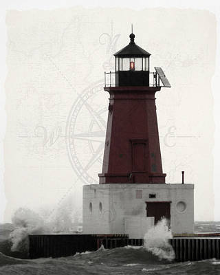 Lighthouse Compass Poster