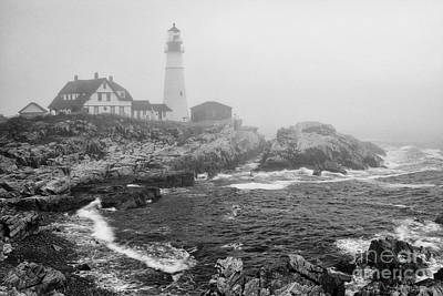 Lighthouse In The Fog - Black And White Poster