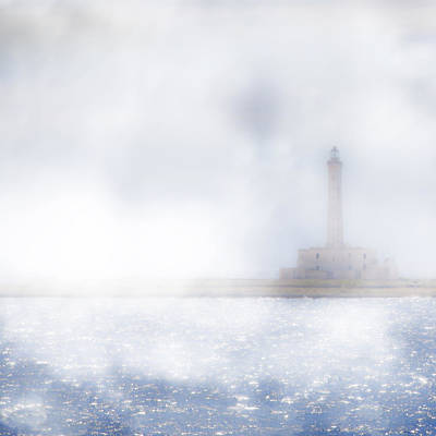 Lighthouse In The Fog Poster