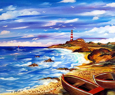 Poster featuring the painting Lighthouse Island by Roberto Gagliardi