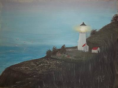 Poster featuring the painting Lighthouse With Birds by Angela Stout