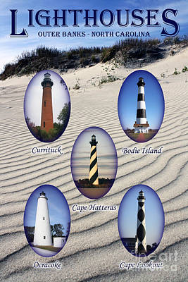 Poster featuring the photograph Lighthouses Of The Outer Banks by Tony Cooper