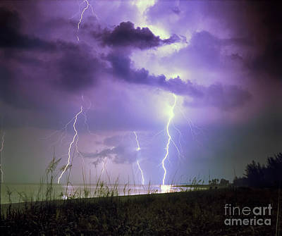 Lightning Over Florida Poster by Keith Kapple