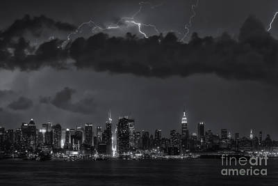 Lightning Over New York City II Poster by Clarence Holmes