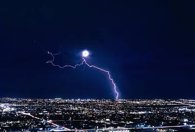 Lightning Strike At Night In Tucson, Arizona, Usa Poster