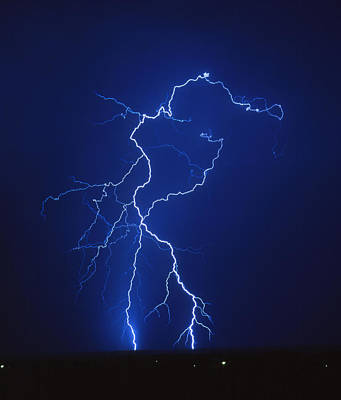 Lightning Strike At Night, Near Tucson, Usa Poster