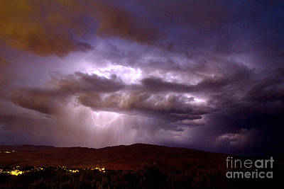Lightning Strikes During A Thunderstorm Poster by David R Frazier and Photo Researchers