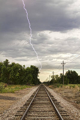 Lightning Striking By The Train Tracks Poster by James BO  Insogna