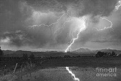 Lightning Striking Longs Peak Foothills 2bw Poster by James BO  Insogna