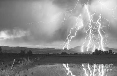 Lightning Striking Longs Peak Foothills 4bw Poster by James BO  Insogna