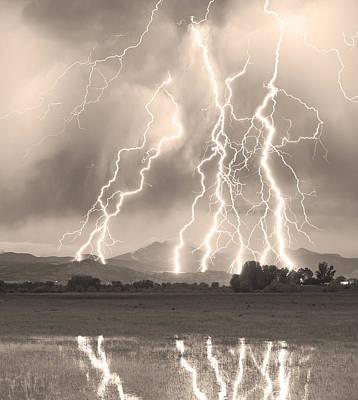 Lightning Striking Longs Peak Foothills 4cbwsepia Poster
